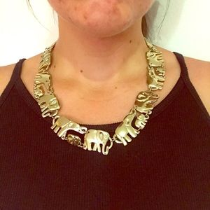 Gold Linked Elephant Necklace